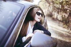 Kobieta w samochodzie Zdjęcia Royalty Free