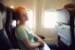 Kobieta w samolocie Obraz Stock