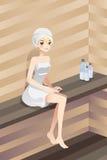 Kobieta w sauna Zdjęcia Stock