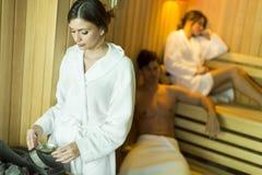 Kobieta w sauna Obraz Royalty Free
