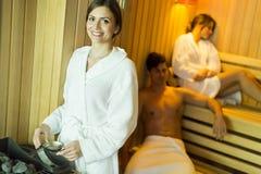 Kobieta w sauna Fotografia Royalty Free