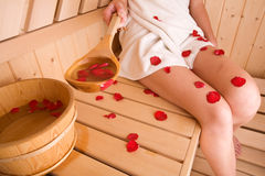 kobieta w saunie Fotografia Stock