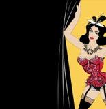Kobieta w seksownej czerwonej bieliźnie, brunetka z łękiem na głowie trzyma zasłonę otwiera kabaretowego przedstawienie szablon d ilustracji
