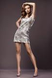 Kobieta w srebro sukni Zdjęcia Royalty Free