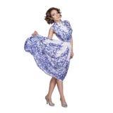 Kobieta w sukni z deseniowym gzhel Zdjęcie Stock