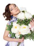 Kobieta w sukni z deseniowym gzhel Fotografia Stock
