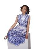 Kobieta w sukni z deseniowym gzhel Zdjęcie Royalty Free