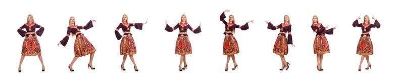 Kobieta w sukni z orientalnymi drukami odizolowywaj?cymi na bielu zdjęcia stock