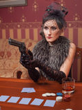Kobieta w surowym odziewa w retro stylu. Obrazy Royalty Free