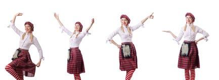 Kobieta w tradycyjnej szkockiej odzieży Zdjęcia Stock