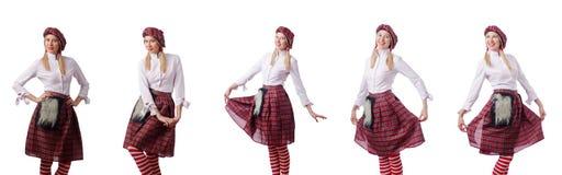 Kobieta w tradycyjnej szkockiej odzieży Zdjęcie Royalty Free