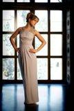 Kobieta w wieczór sukni Obrazy Royalty Free