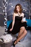 Kobieta w wieczór sukni na zimy dekoraci Zdjęcia Stock