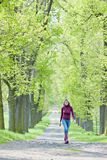Kobieta w wiosna alei Zdjęcie Stock