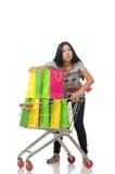 Kobieta w zakupy pojęciu na bielu Obrazy Stock