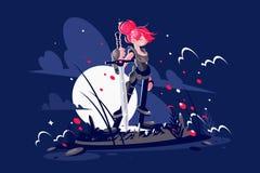 Kobieta wojownika bohater z kordzikiem na polu bitwy ilustracja wektor