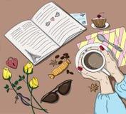 Kobieta wręcza filiżankę w kawiarni ilustracja wektor