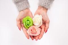 Kobieta wręcza mieniu trzy pięknego kwiatu na białym tle zdjęcie royalty free