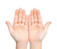 Kobieta wręcza palmy trzymać poddaje Fotografia Royalty Free