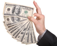 kobieta wręcza pieniądze zdjęcia stock