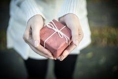 Kobieta wręcza trzymać małego prezent z faborkiem Zdjęcie Royalty Free