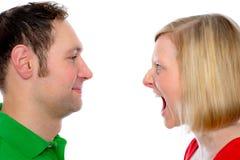 Kobieta wrzask przy jej mężem w ten sposób Zdjęcia Stock
