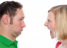 Kobieta wrzask przy jej mężem w ten sposób Fotografia Stock