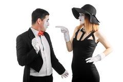 Kobieta wskazuje przy mężczyzna obrazy stock