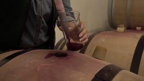 Kobieta wybór wino sonda od Dębowej baryłki W wino lochu zbiory