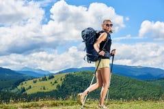 Kobieta wycieczkowicz wycieczkuje na trawiastym wzgórzu, będący ubranym plecaka, używa trekking wtyka w górach zdjęcie royalty free
