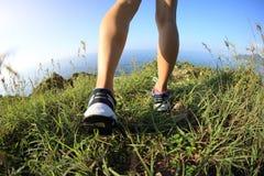 Kobieta wycieczkowicza nogi wycieczkuje na nadmorski górze Obrazy Stock
