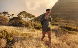 Kobieta wycieczkuje samotnie w naturze zdjęcie stock