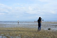 Kobieta wydaje wakacje czas na białym piaskowatej plaży niskim przypływie bierze selfie zdjęcia royalty free