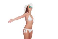 Kobieta wyraża wolność w bikini Zdjęcie Royalty Free