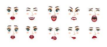 Kobieta wyrazy twarzy, gesty, emoci szczęścia niespodzianki obmierzłości smucenia zachwyta rozczarowania strachu niespodzianki ra Obrazy Stock