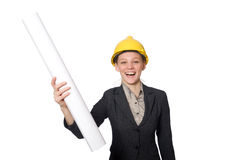 Kobieta inżynier z szkiców papierami Fotografia Stock