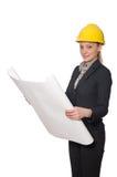 Kobieta inżynier z szkiców papierami Zdjęcia Stock