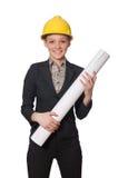 Kobieta inżynier z szkiców papierami Zdjęcia Royalty Free