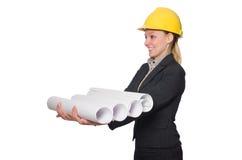 Kobieta inżynier z szkiców papierami Zdjęcie Royalty Free