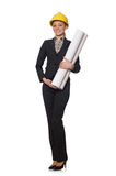 Kobieta inżynier z szkiców papierami Obraz Stock