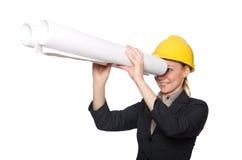 Kobieta inżynier z szkiców papierami Obraz Royalty Free