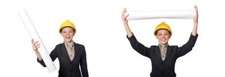 Kobieta in?ynier z szkic?w papierami fotografia royalty free