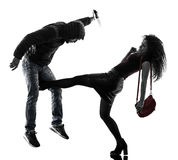 Kobieta złodzieja agresyjna samoobrona odizolowywająca Obraz Stock
