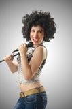 Kobieta z afro ostrzyżeniem na bielu Obraz Stock