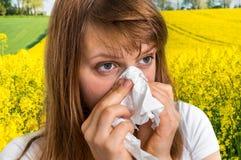 Kobieta z alergią na żółtym gwałta pola kichnięciu w tkance Zdjęcie Stock