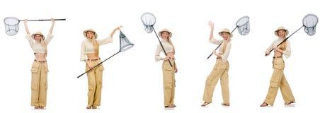 Kobieta z łapanie siecią na bielu Zdjęcia Stock