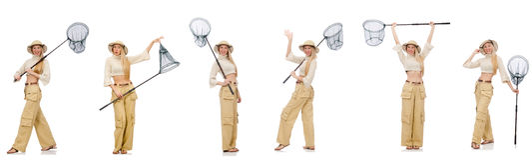 Kobieta z łapanie siecią na bielu Obraz Royalty Free
