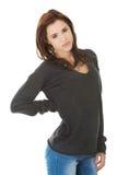 Kobieta z bólem pleców Zdjęcia Royalty Free
