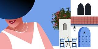Kobieta z błękitną perły kolią na tle typowa Morocco stylowa śródziemnomorska wioska i kapeluszem, ilustracji