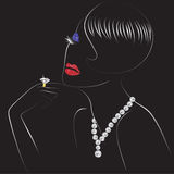 Kobieta z błyszczącymi wargami ilustracji